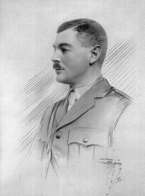 A black-and-white image (blended photograph and sketch) of a soldier with close cropped hair and a mustache.