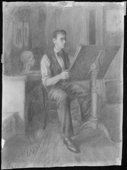Conté and pencil drawing of a young man seated at a drawing board looking at the viewer. It is signed EN31.