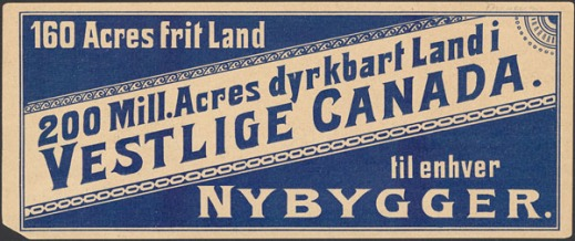 A small card printed in Norwegian with lettering and background alternating between colours of blue and sepia.