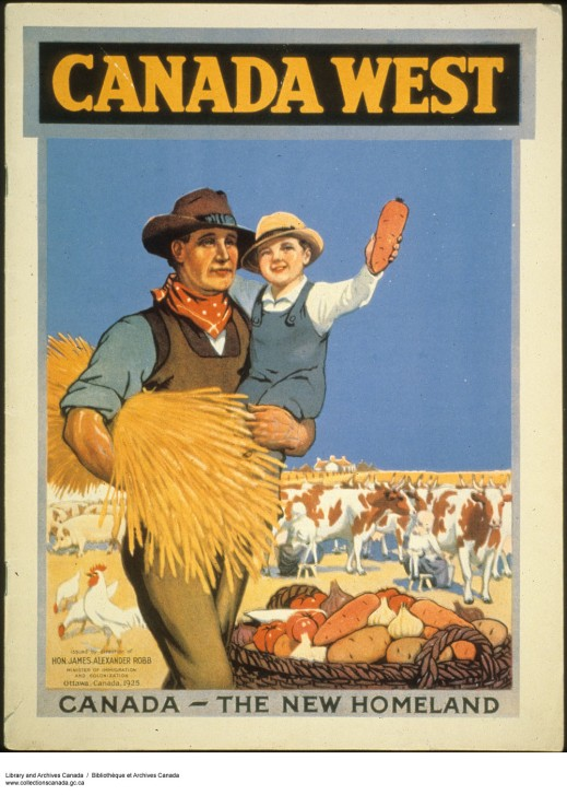 Brightly coloured poster shows a man carrying a bundle of wheat under one arm and a boy in the other. A basket of potatoes, tomatoes, garlic and onions is at his feet, and in the background are some chickens and pigs, a herd of cattle, and a farmhouse.