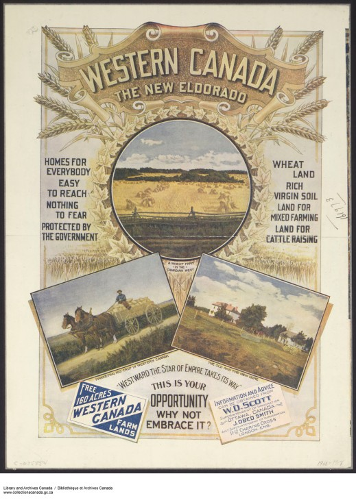 "Colourful poster highlighting farm scenes in ""Western Canada"" on a decorative backdrop of golden wheat and maple leaves. Slogans surrounding the images advertise information and advice."