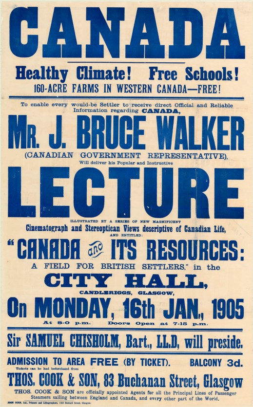 "Poster with prominent words ""Canada"" and ""Lecture."" The other words vary in size, and all are printed in blue ink against a sepia background."