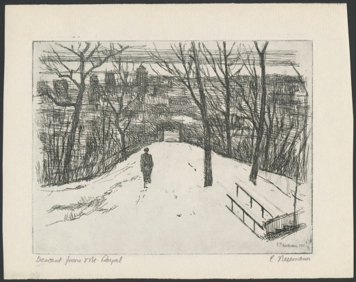 An etching of a person walking downhill along a snowy path toward a city, with its buildings visible through the trees.