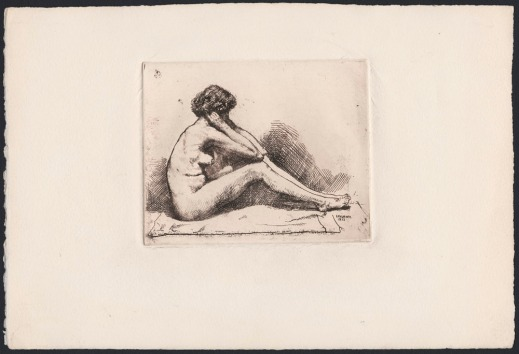 An etching of a female nude seated, holding her face and resting her elbows on bent knees.