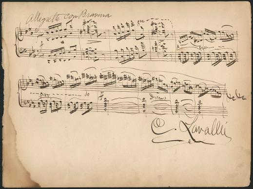 Sepia page of handwritten musical notations signed C. Lavallée.