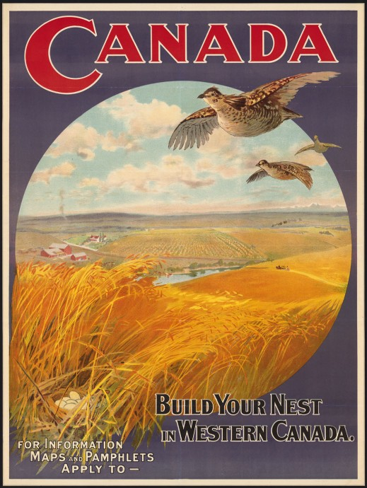 "Brightly coloured poster with ""Canada"" printed in large red letters across the top, birds flying over golden wheat fields encircled below, and a slogan and space for contact information at the bottom."