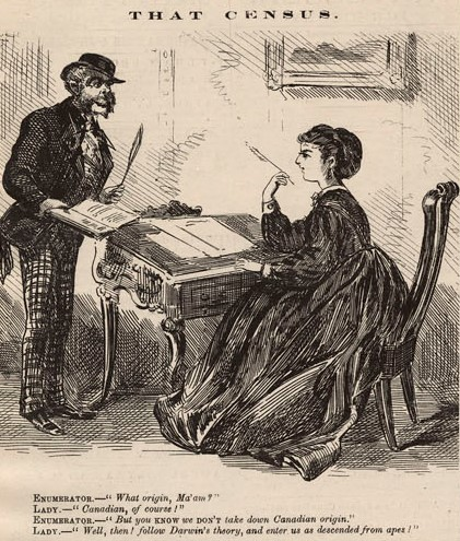 A black-and-white cartoon of a census enumerator speaking to a woman sitting at a desk.