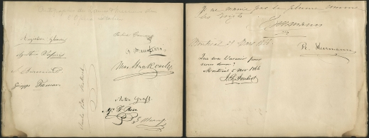 Two pages containing signatures of major opera singers.