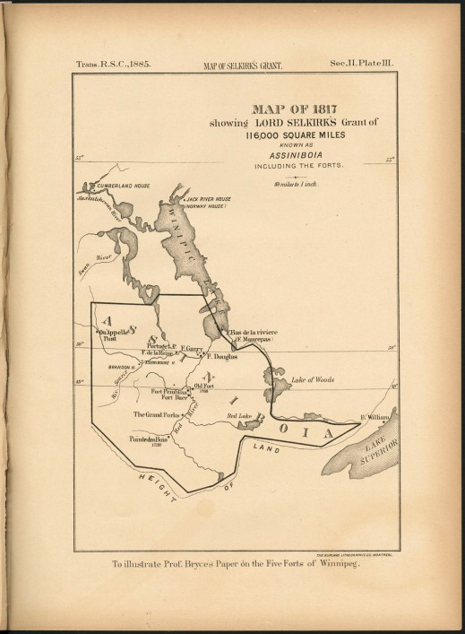 A thin line outlines Selkirk's grant on the map of Assiniboia.