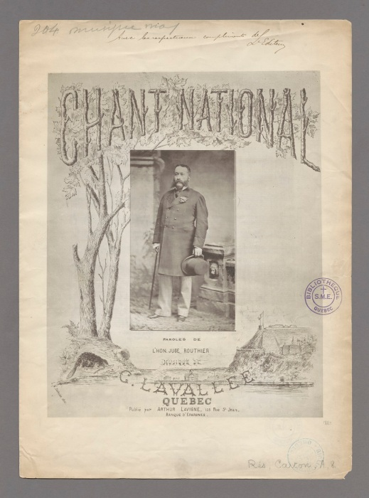 Sheet music cover. In the centre, there is a photo of a man in an overcoat and trousers holding a top hat and a cane. The composer's and lyricist's names are at the bottom between a sketch of the city of Québec and a tree that stretches to the top of the page to decorate the title with maple leaves.