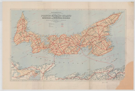 A colour map of roads and recreational sites of Prince Edward Island