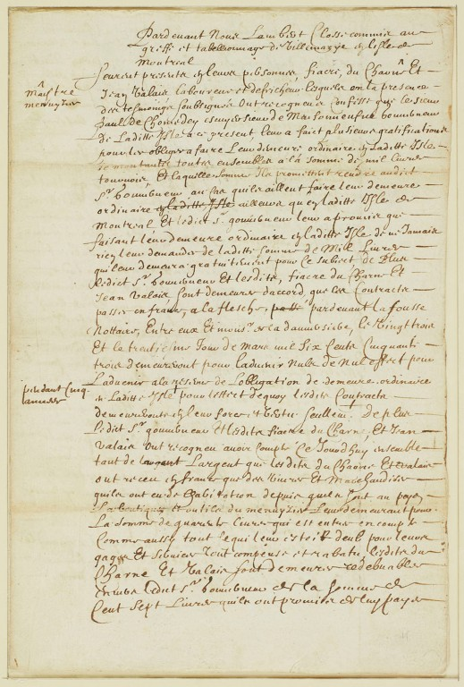 The first page of two separate contracts written in ink