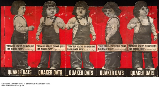 Creased and torn advertisement depicting black-and-white die-cut prints of the little girls wearing overalls and white shirts on a red background. The logo sits across the top of each girl's legs, with the company name along the bottom of the poster.