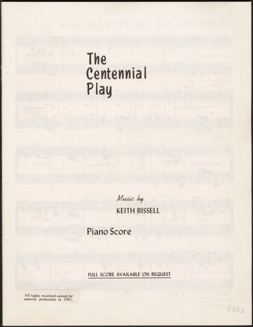 A page showing the title and the composers of the musical score for The Centennial Play.