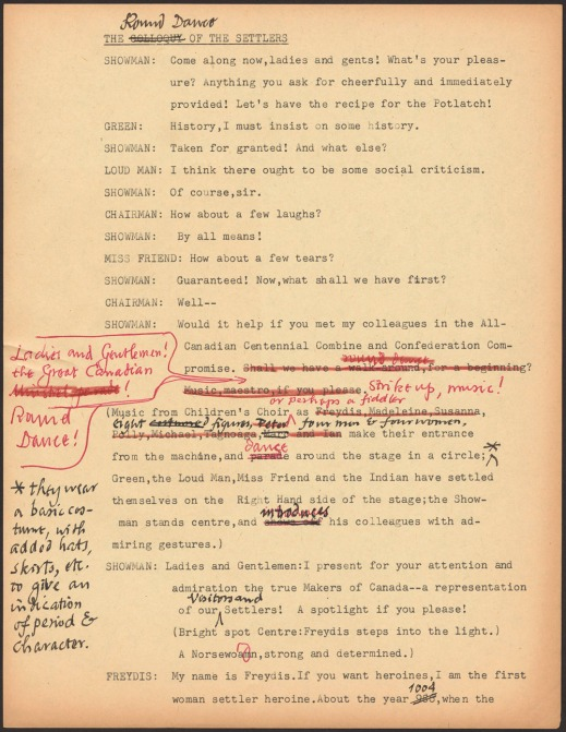 Typewritten text with annotations in red ink.