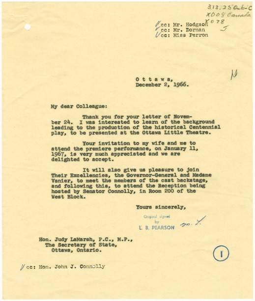 A letter typed and signed by the Prime Minister's Office.