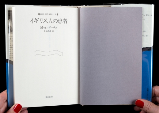 Colour photograph of a book open at the title page written in Japanese.