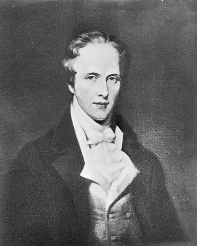Black-and-white photo of Thomas Douglas dressed in a black jacket, white waistcoat, and white cravat.
