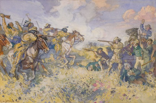 Watercolour of the fight showing the two sides armed with guns facing each other across a field under a cloudy blue sky. One side is mostly unmounted white HBC employees and the other side is mounted Métis and North-West Company employees.