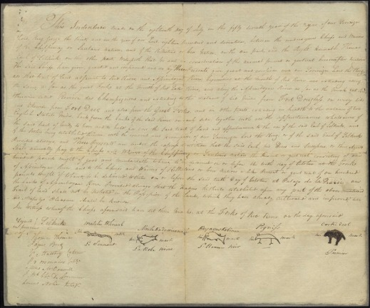 Image of the Selkirk Treaty, a large handwritten document with the Europeans' signatures and Chiefs' marks at the bottom.