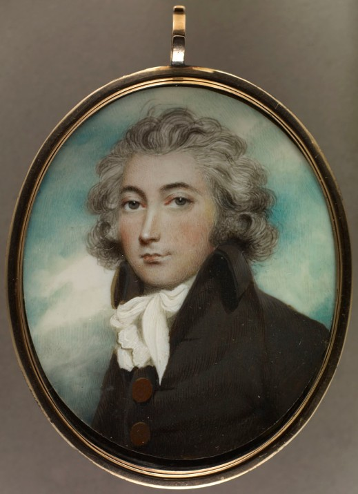 Oval miniature portrait of Colonel William Claus dressed in a dark jacket and white cravat, against a blue background.