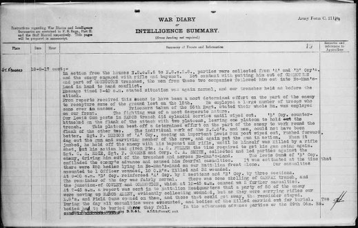 A typewritten description of the events of the day, including a description of Sergeant Frederick Hobson's actions.