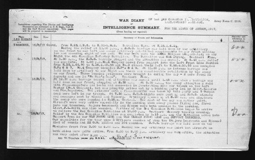 A typewritten description of the events of the day. It mentions that Learmonth and another officer died of their wounds.