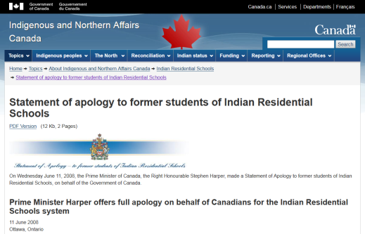 Screen capture of Prime Minister Stephen Harper's 2008 statement of apology to former students of Indian Residential Schools on the Indigenous and Northern Affairs website, from the TRC Web Archive.