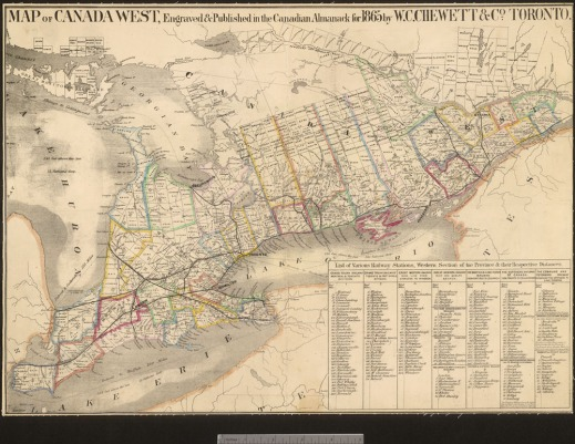 A map of Canada West, what is now southern Ontario, with coloured outlines to indicate counties. The legend contains a list of railway stations with their respective distances [to Toronto?].
