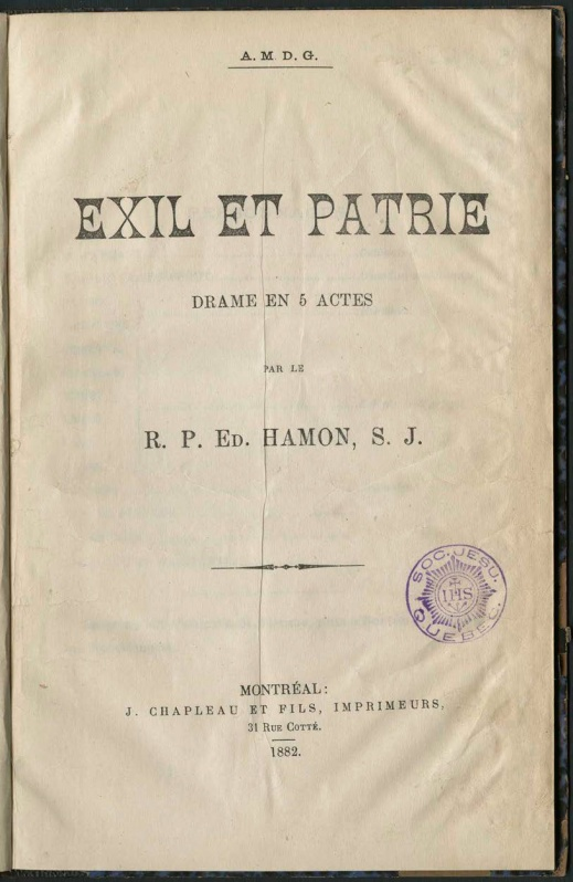 A colour image of the cover of a book entitled Exil et Patrie and bearing the title and the names of the author and the publisher, all printed in black on yellowed paper.