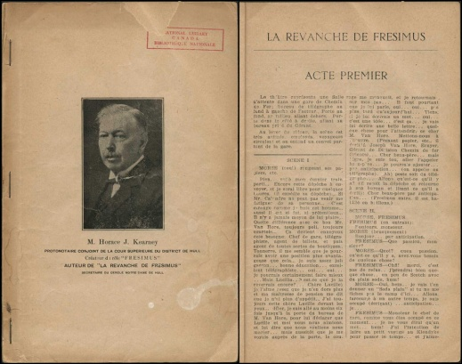 Two-page image, side by side: on the left is the cover with a black-and-white photograph of the playwright, and on the right is the first page of the first act.