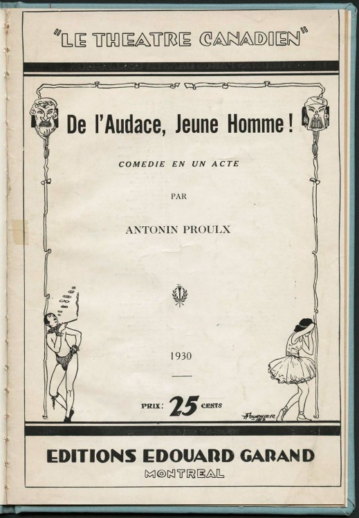 Cover of a play showing the title, author's name and price of 25 cents, in black print on yellowed white paper.