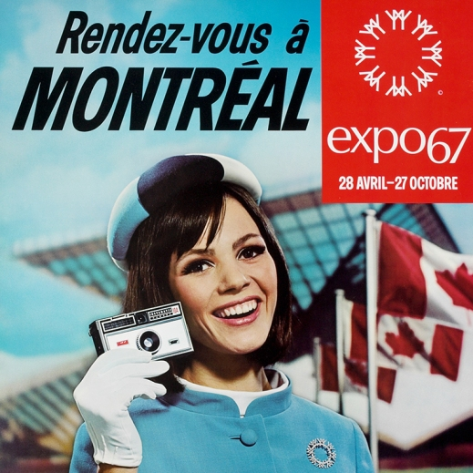 Colour poster promoting Expo 67 with a photo of a young woman with a camera with a row of Canadian flags and a futuristic building in the background.