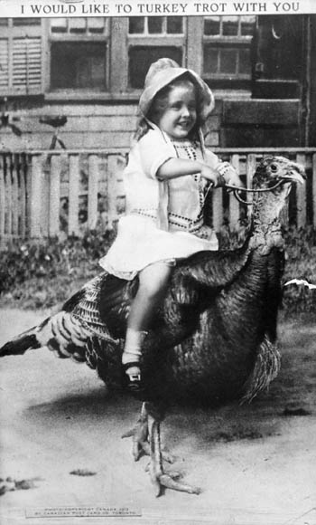 A black-and-white photograph of a young girl sitting on top of a bridled male turkey.
