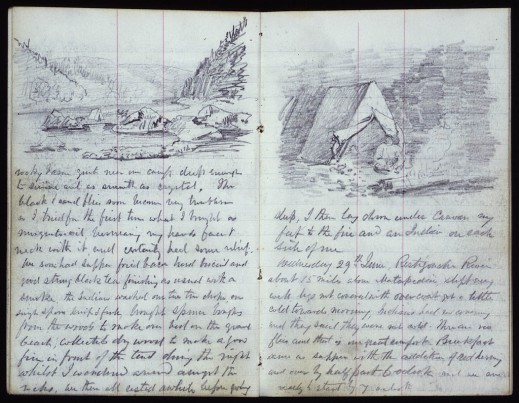 Two pages from a journal. The first page shows a sketch of a campsite in a river valley with woods and mountains in the background with some handwritten text underneath. On the second page is a sketch of a tent with someone sitting in front of it, tending a fire.