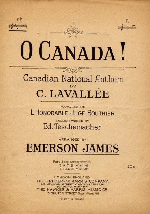 "Cover of sheet music for ""O Canada!,"" Canadian National Anthem by C. Lavallée."