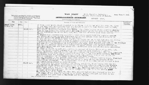 A typed list of the events of October 26, 1917; specifically, what was happening to the 43rd Canadian Infantry Battalion between 10 and 10:30 a.m.