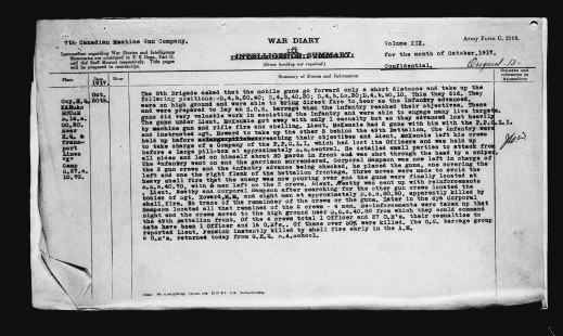 A typed detailed account of the events of October 30, 1917.
