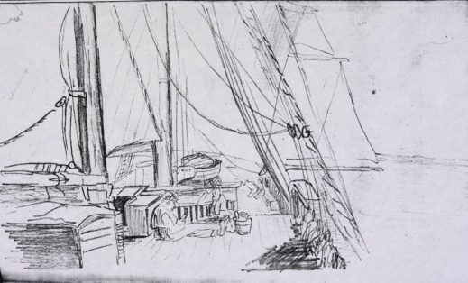 A pencil sketch showing a person reading on the deck of a ship, with another ship in the background.