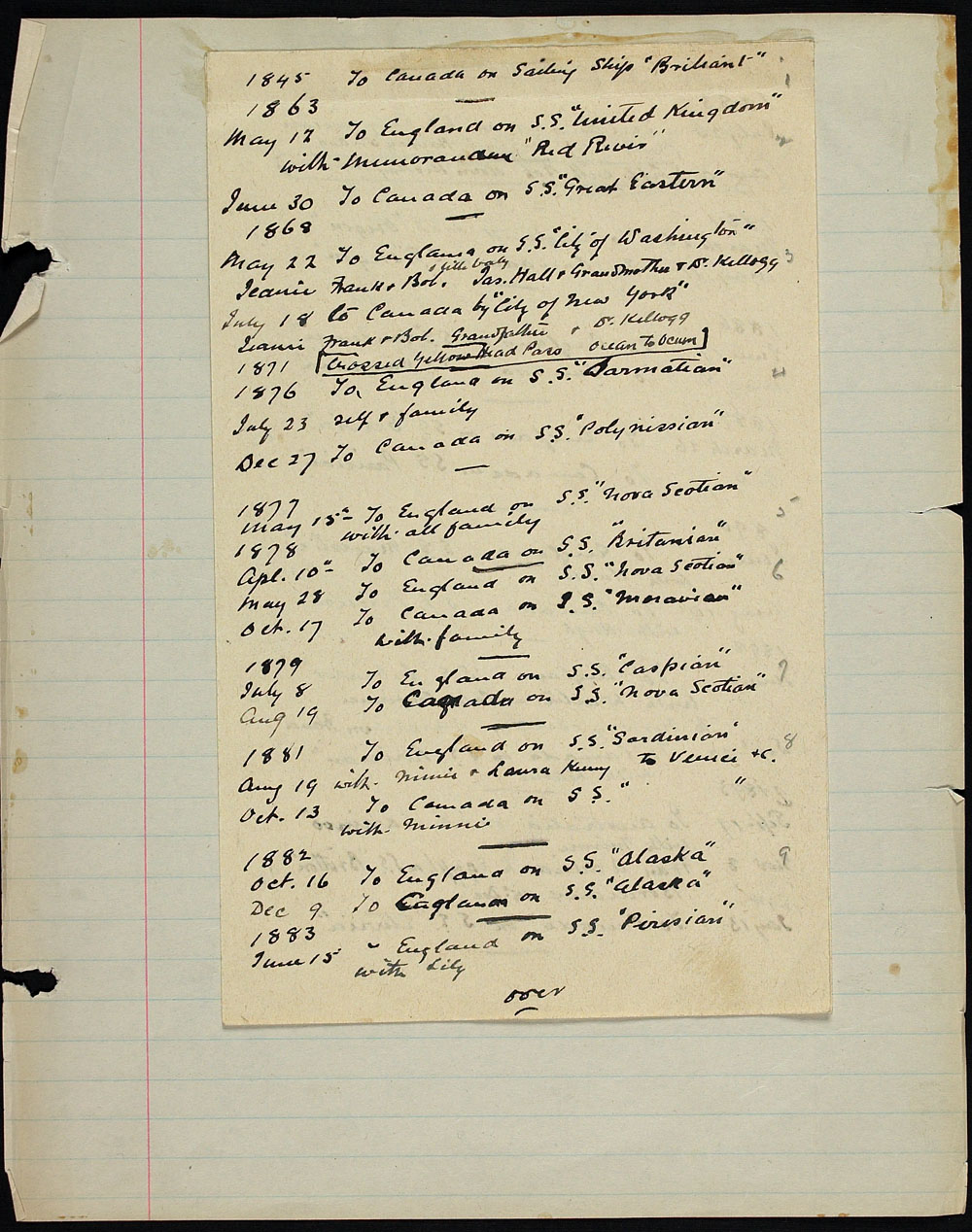 A Handwritten List Of Dates Destinations And Names Ships Which Has Been Attached