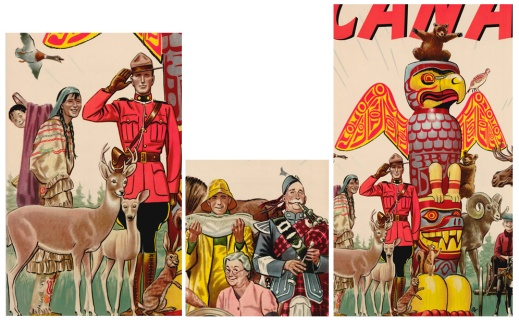 Three detailed images from the poster. One has a uniformed Mountie, and a First Nations woman wearing a blue-and-red striped dress carrying a baby on her back with deer and a rabbit in the foreground. The second has a fisherman in yellow rain gear holding a large fish and a man in a blue dress coat playing the bag pipes with a white haired woman seated between them. The third has a colourful totem pole shaped like an eagle with its wings spread on top surrounded by wildlife.