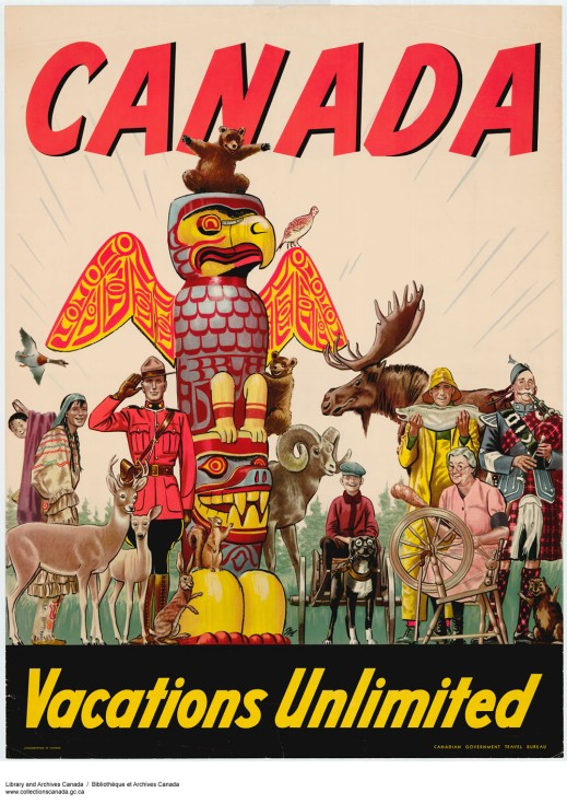 "Colourful poster depicting a moose, deer, bears, a rabbit, a squirrel, a beaver, a fisherman, a piper, a woman spinning wool, a Mountie, an Indigenous woman and child, a boy driving a dog cart, and a totem pole. The words ""Canada"" and ""Vacations Unlimited"" are printed across the top and bottom of the poster."
