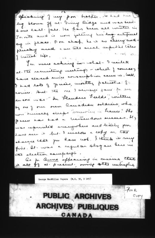 "A black-and-white page of a letter from Lucy Maude Montgomery to George Boyd Macmillan. Discusses the popularity of ""In Flanders Fields"" and its use in election campaigns."