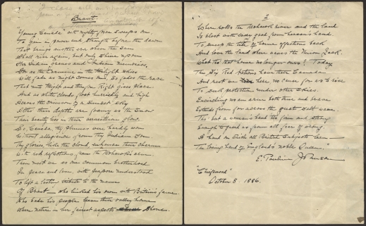 Two pages of a handwritten poem signed and dated by the author, Pauline Johnson.