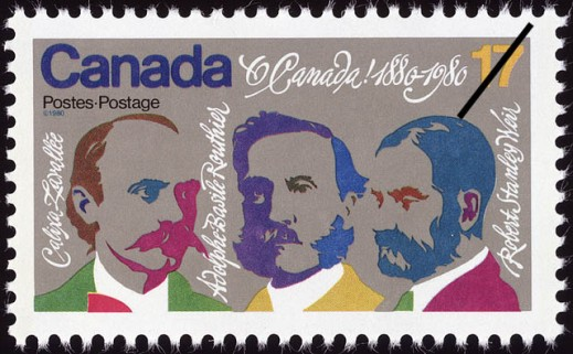 "Photo of a rectangular postage stamp with colourful graphics of three men, with their names written beside them: Calixa Lavallée, Adolphe-Basile Routhier, and Robert Stanley Weir. The stamp reads ""Canada Postes-Postage, O Canada! 1880–1980."""
