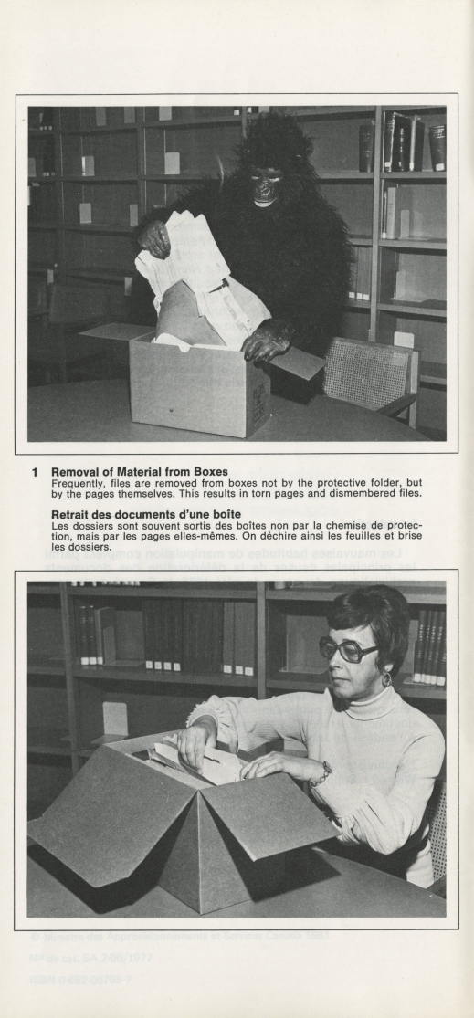 A black-and-white photograph displaying the improper and proper ways to remove archival material from a box. The improper manner shows a person dressed as a gorilla forcibly pulling the documents out. The proper manner depicts a female researcher carefully removing the documents.
