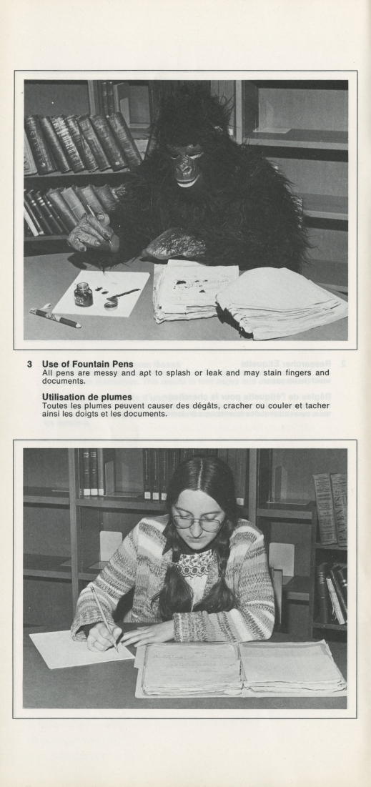A black-and-white photograph displaying the improper and proper ways to handle archival documents. The improper manner shows a person dressed as a gorilla leaving fingerprints on documents after handling them without wearing white cotton gloves. The proper manner depicts a female researcher wearing white cotton gloves to handle the documents.