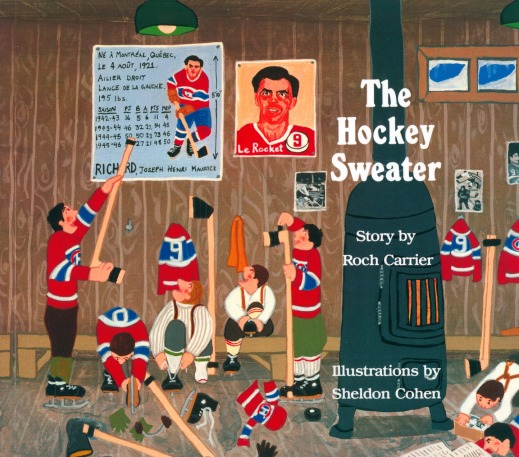 A colour image of a book cover showing boys dressed like Maurice Richard getting ready for a hockey game