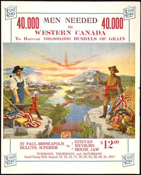 A colour poster showing a landscape with green fields and mountains with two men standing in the foreground on opposite sides of a river. One has an American flag at his feet while the other holds the Union Jack and has a cornucopia at his feet; he is beckoning the American to come to Canada. Underneath are the departure and arrival locations and dates as well as the price ($12) for the journey.