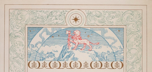 Detail of the certificate showing a red lion holding an axe on a blue mountain bordered by blue waves and a star in a circle.